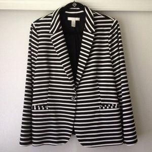 Chico's Black/White Striped Blazer